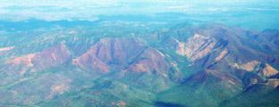 Luftaufnahmen einer Landschaft in Afrika