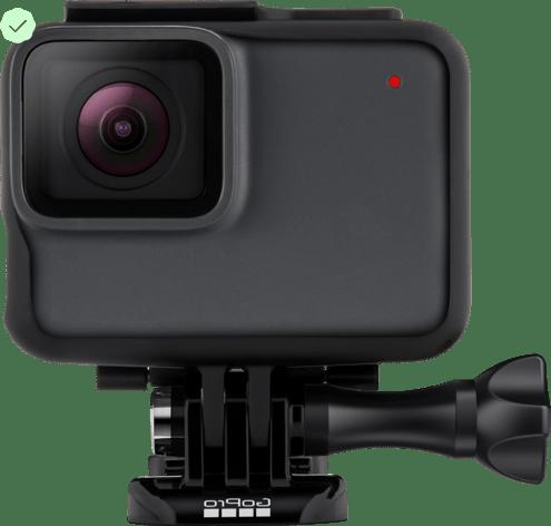 Eine GoPro-Kamera; daneben das Zertifizierungshäkchen
