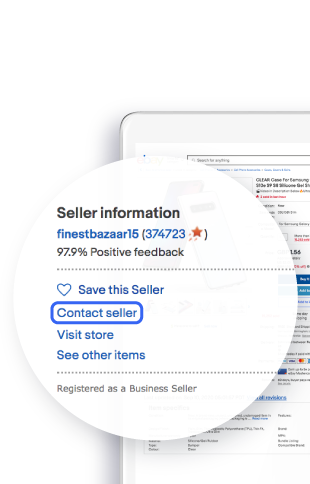 Screenshot of eBay's app highlighting Contact seller