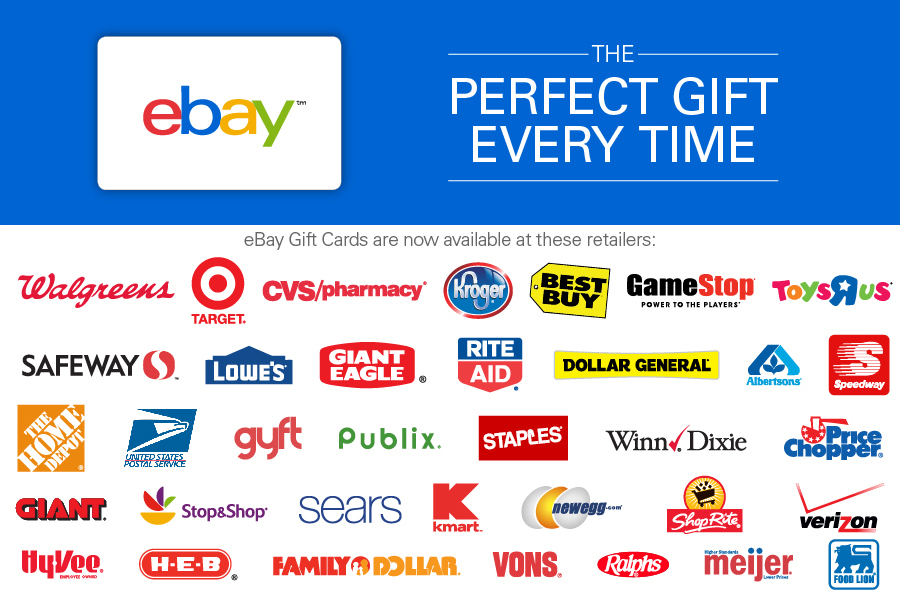 buy ebay gift cards in retail stores - Gift Card Places