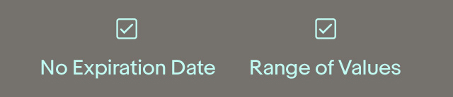 ☑ No Expiration Date  ☑ Range of Values