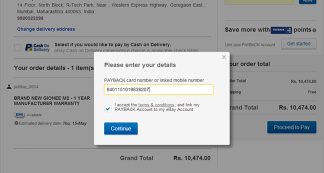 enter your correct payback card number here or the linked mobile number and click on continue