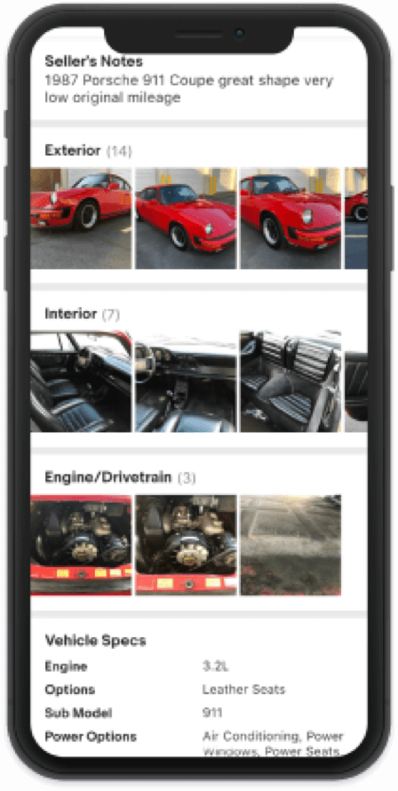 Phone screen capture: listing photos of a red Porsche 911, sorted according to category (Exterior; Interior; Engine/Drivetrain).