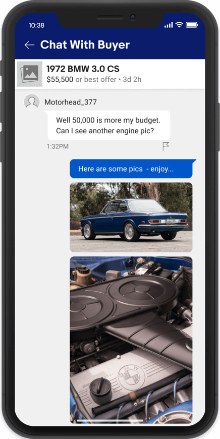 Phone screen capture: Instant chat bubbles of a buyer-seller conversation, with photo attachments in the chat.
