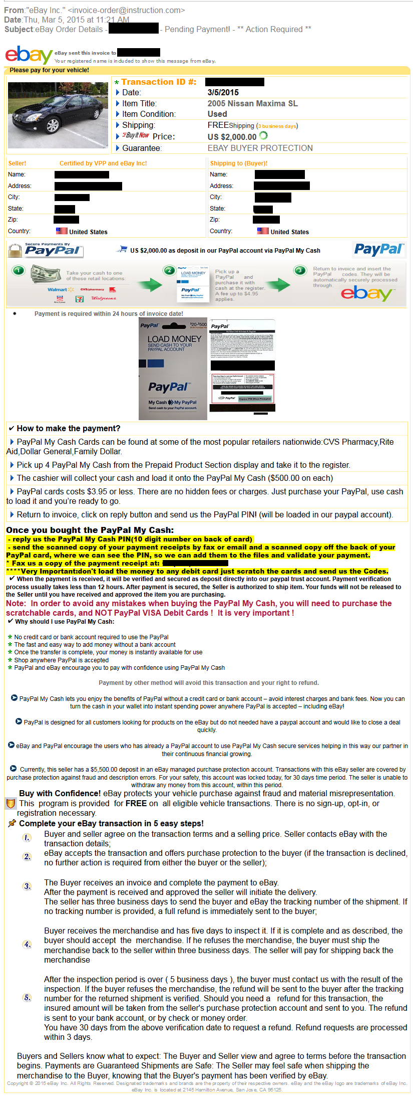 Ebay Motors Security Center Wiring Money Through Walmart Common Warning Signs