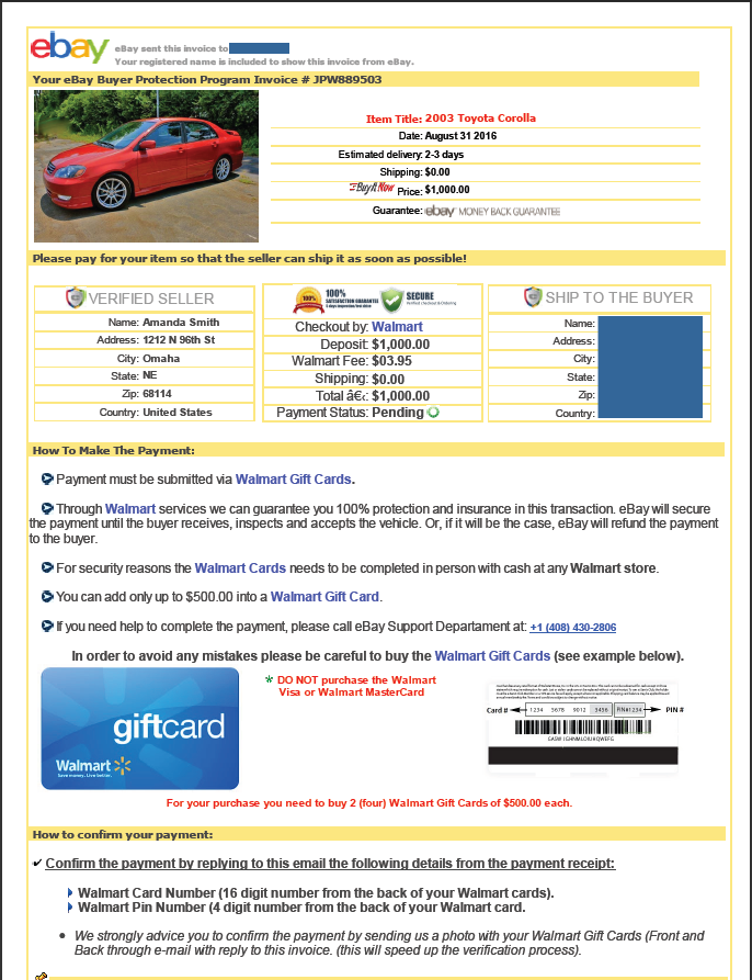 EBay Motors Security Center - Invoice template for word walmart online shopping store pickup