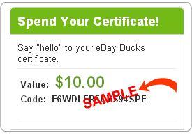 eBay Bucks certificate redemption
