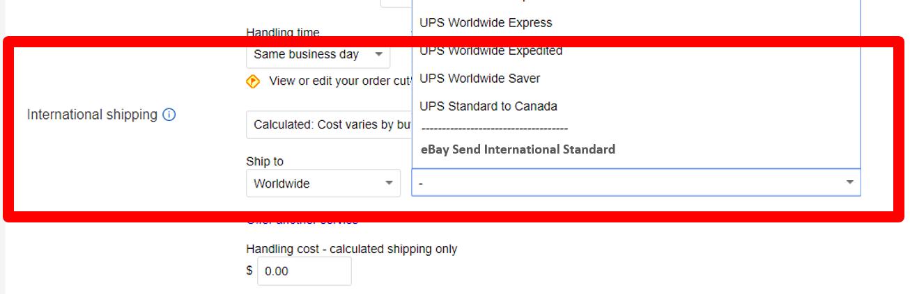 eBay Send International Standard