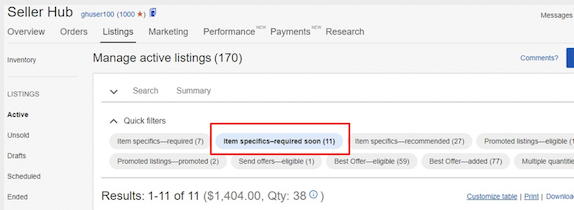 Seller Hub > Manage active listings > Item specifics-required soon