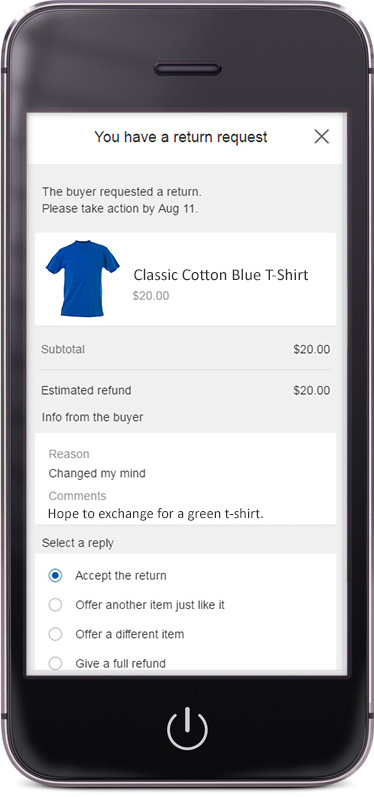 Image depicting how to offer a replacement or exchange on a mobile device
