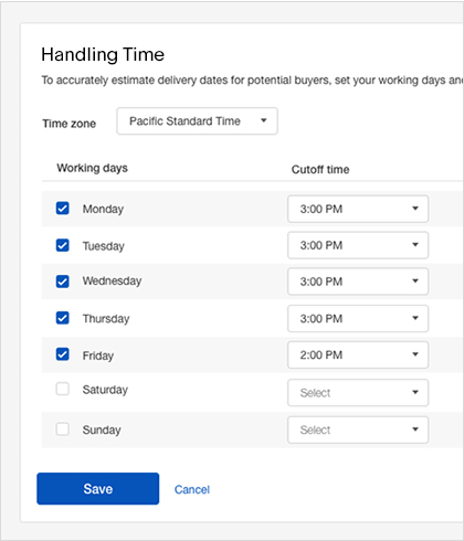Example of handling times