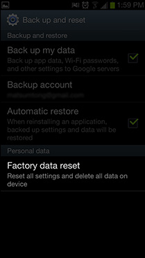Step 3: Select 'Factory data reset'