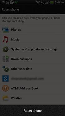 Step 4: Select 'Reset phone'
