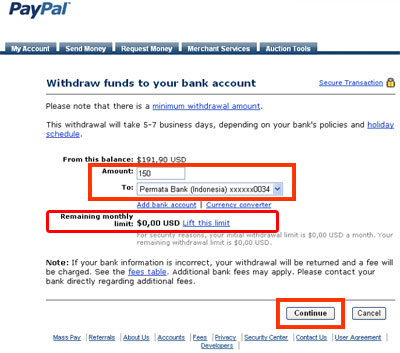 PayPal Bank Withdrawal Page