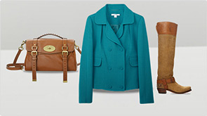 Purse, woman's coat and a woman's boot