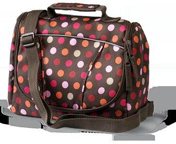 Pink and orange polka dotted bag