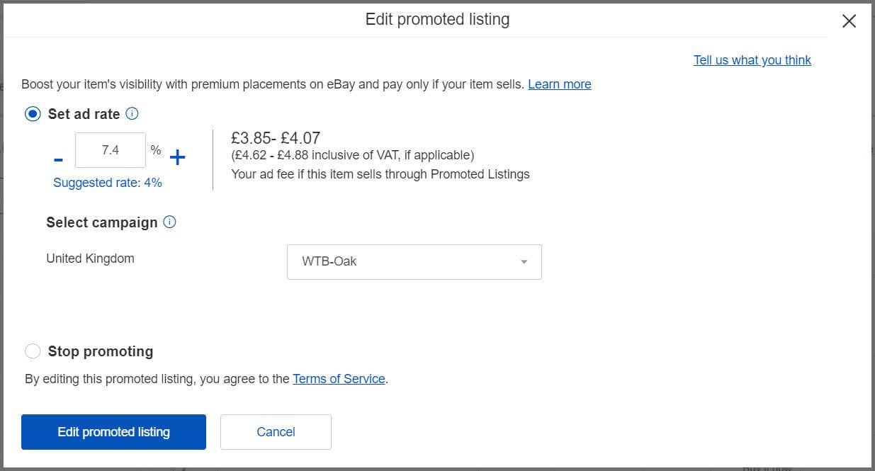 Image of promoted listings edit individual listing step 2