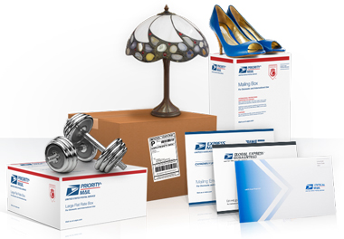Lamp on USPS shipping boxes