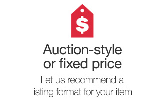 Auction-style or fixed price. Let us recommend a listing format for your item