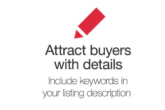 Attract buyers with details. Include keywords in your listing description
