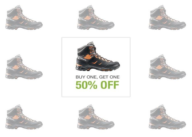 50% off hiking boots promotion