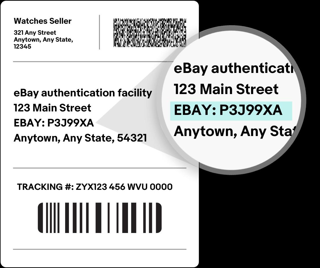 A mockup eBay shipping label.