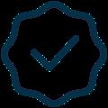 Checkmark badge icon.