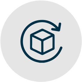 A teal icon of a box with an arrow encircling it.