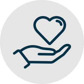 A teal icon of an outstretched hand with a heart above it.