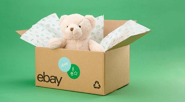 teddy bear on eBay shipping box