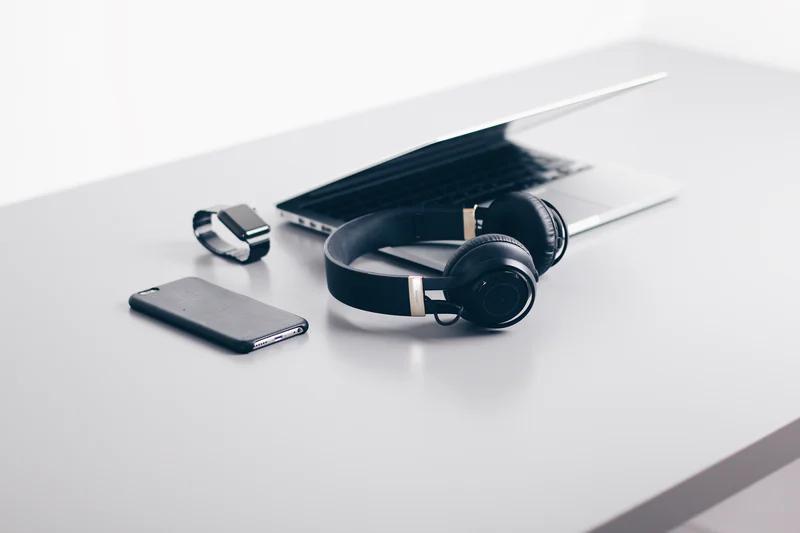 Electronics on a desk