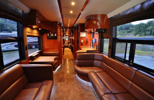 Inside Luxury Tour Bus a picture of the inside